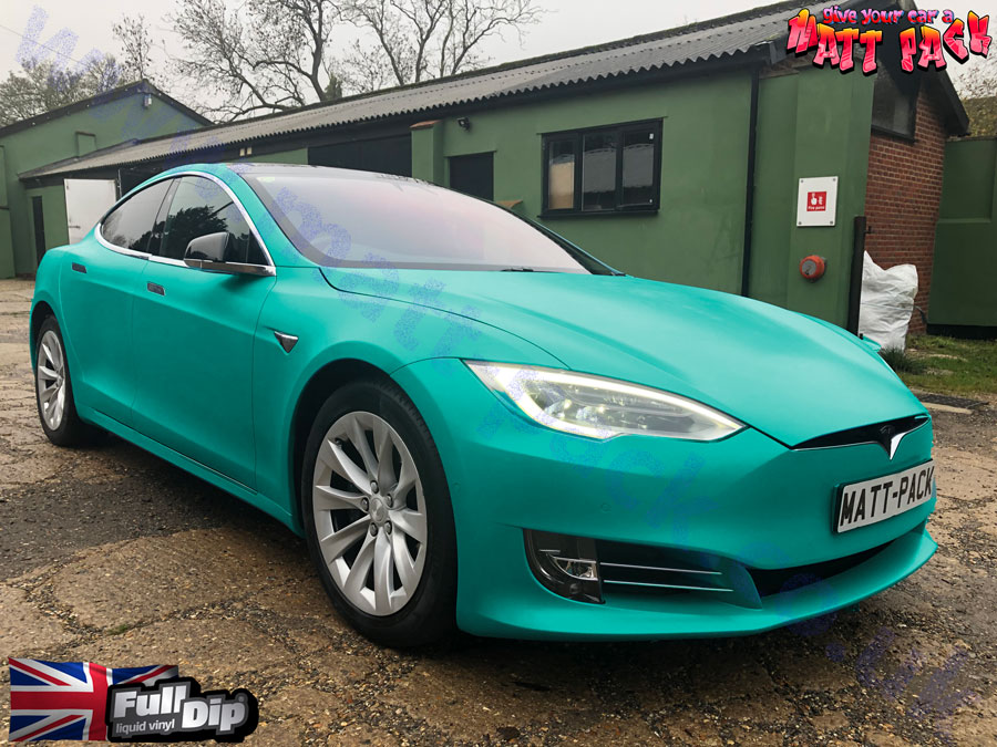 Tesla Model S Spray Wrapped in FullDip 'Kingsley Blue' at Matt-Pack. Satin finish